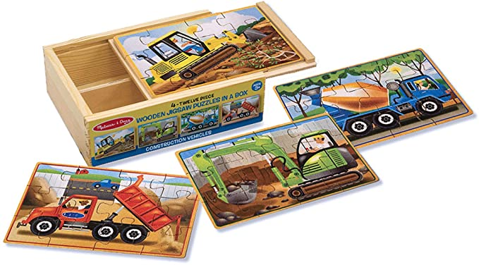 Melissa & Doug Construction Vehicles 4-in-1 Wooden Jigsaw Puzzles