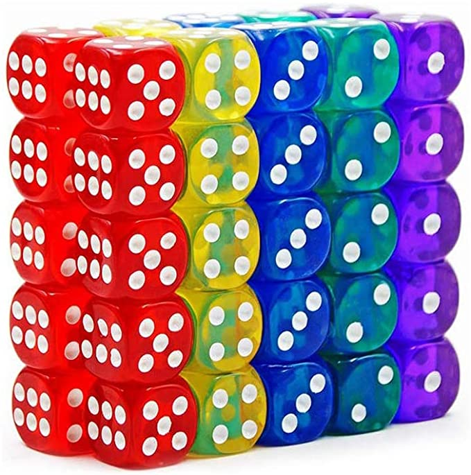 50-Pack 14MM Translucent & Solid 6-Sided Game Dice