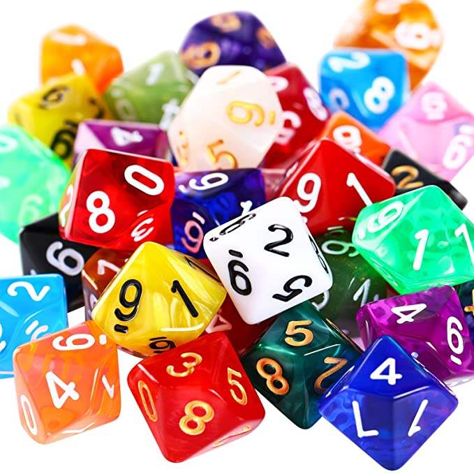 50 Pieces Polyhedral Dice Set 10 Sided Dice Multi Colored Polyhedral Dice Set with Black Pouch Compatible with DND RPG MTG Table Games