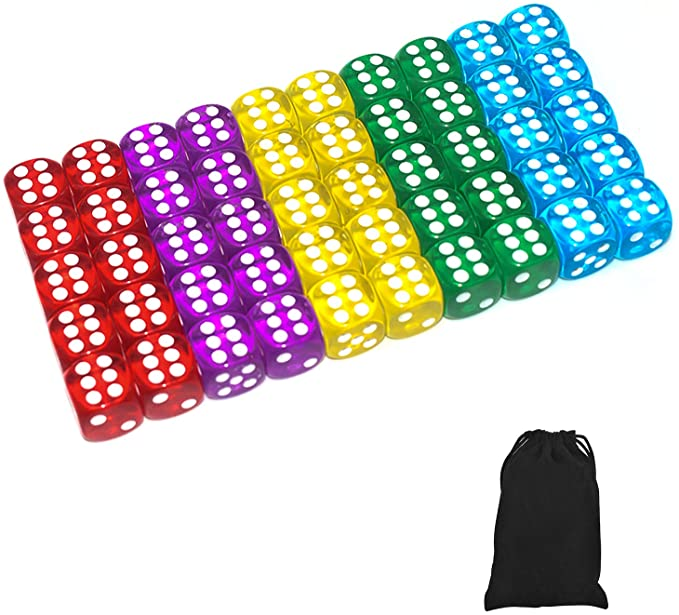 50 of Pack 14MM 6 Sided Dice Set Translucent Colors Dice