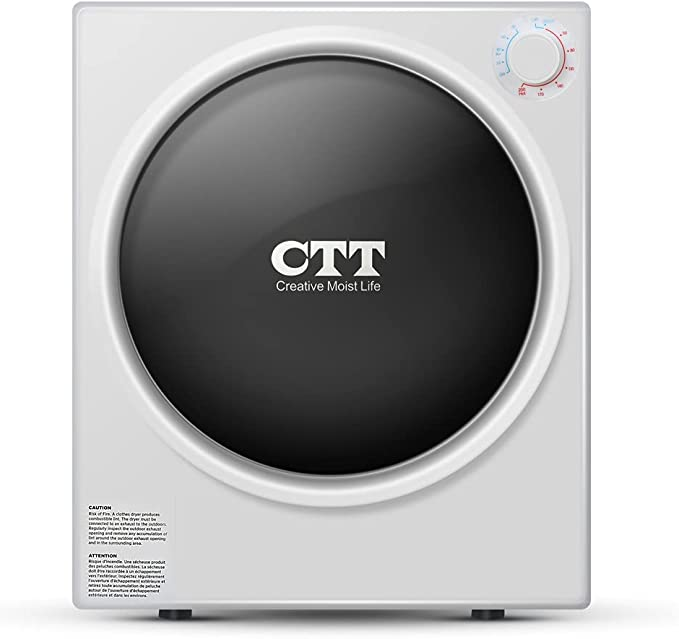 CTT Clothes Dryer   9 Lbs. 2.7Cu.ft Capacity Electric Portable Compact Laundry Clothes Dryer   Stainless Steel Tub - White