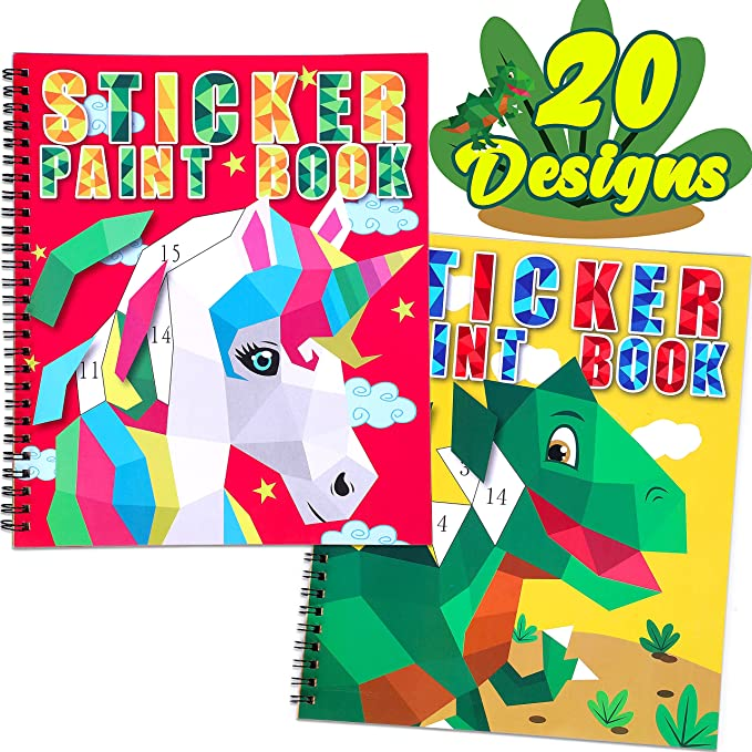 Crafts for Kids Ages 8-12 Sticker Paint Books - Includes Unicorn Dinosaur Llama and More Animal Designs Gift Party Create 20 Pictures