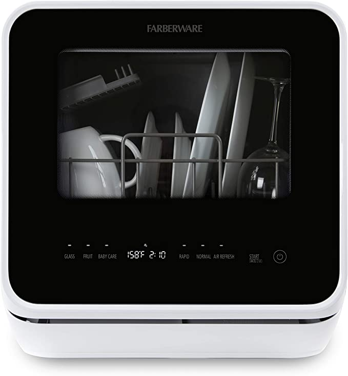 Farberware FDW05ASBWHA Complete Portable Countertop Dishwasher with 5-Liter Built-in Water Tank