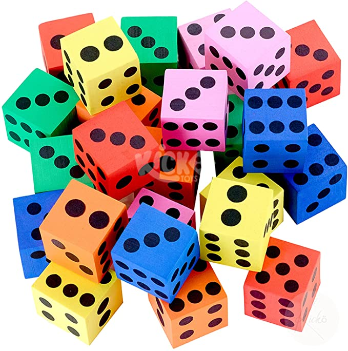 Kicko Foam Dice Set - 24 Pack of Assorted Colorful Big Square Blocks - Perfect for Building