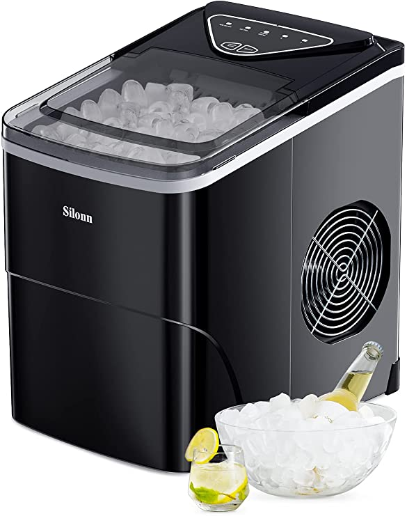 Silonn Ice Makers Countertop 9 Bullet Ice Cubes Ready in 6 Minutes