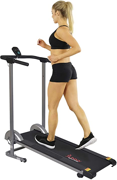 Sunny Health & Fitness SF-T1407M Manual Walking Treadmill with LCD Display