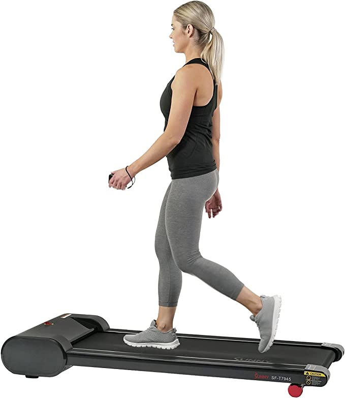 Sunny Health & Fitness Walkstation Slim Flat Treadmill for Under Desk and Home - SF-T7945