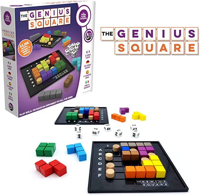 The Genius Square – Game of The Year Award Winner! 60000+ Solutions STEM Puzzle Game! Roll The Dice & Race Your Opponent to Fill The Grid by Using Different Shapes! Promotes Problem Solving Training