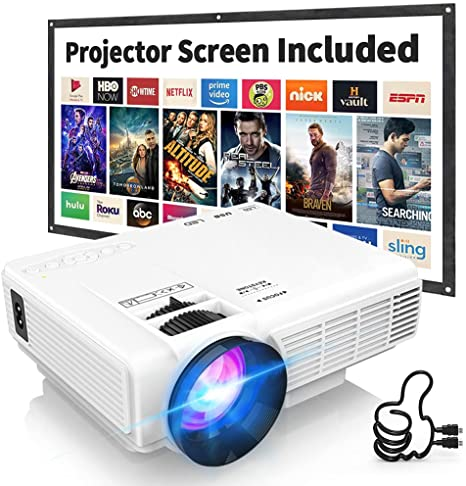 DRJ Professional 7500Lumens Mini Projector with 100Inch Projector Screen